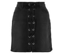 Portia Lace-up Denim Mini Skirt Black