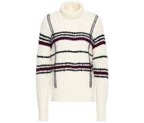 Checked Cable-knit Wool-blend Turtleneck Sweater Ivory