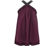 Bead-embellished Cotton-blend Poplin Halterneck Top Purple