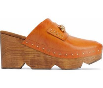 Chain-trimmed studded faux leather clogs