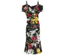 Woman Cold-shoulder Wrap-effect Floral-print Stretch-silk Midi Dress Black