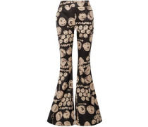Printed Cotton-twill Flared Pants Black Size 0