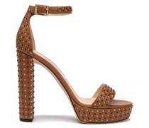 Studded Laser-cut Leather Platform Sandals Light Brown