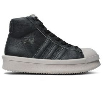 Textured-leather High-top Sneakers Black