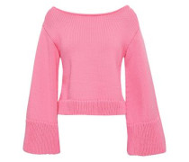 Cropped Cotton-blend Sweater Bubblegum