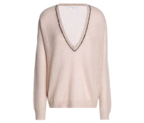 Bead-embellished ribbed- knit sweater