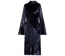 Draped Metallic Velvet Midi Dress Navy
