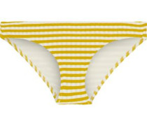 The Elle Striped Ribbed Low-rise Bikini Briefs Mustard