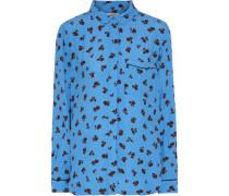 Roseburg Floral-print Washed-crepe Shirt Azure