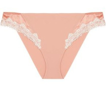 Lace and satin-trimmed stretch-silk low-rise briefs