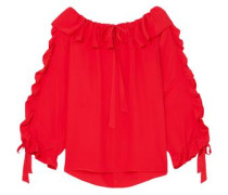 Ruffled Georgette Blouse Red