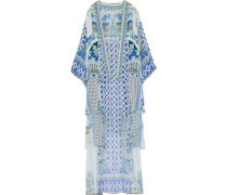 Embellished printed silk crepe de chine coverup