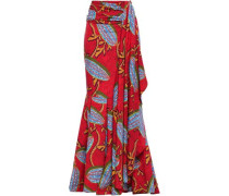 Draped Crepe Maxi Skirt Claret