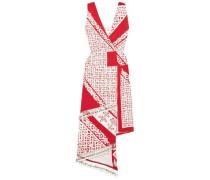 Pavilion Embellished Wrap-effect Printed Silk Midi Dress Red