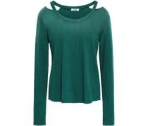 Cutout Striped Supima Cotton-jersey Top Emerald