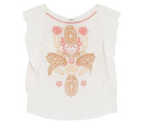 Ruffle-trimmed embroidered cotton-gauze top