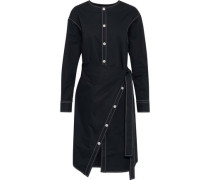 Wrap-effect Button-detailed Cotton-poplin Shirt Dress Midnight Blue
