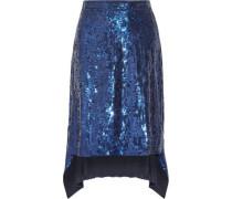 Oleander Asymmetric Sequined Silk-chiffon Skirt Royal Blue