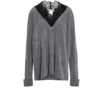 Guipure Lace-trimmed Chenille Sweater Gray