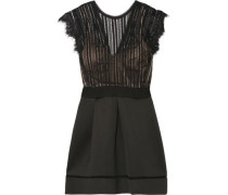 Ina pleated lace and cotton-blend neoprene dress