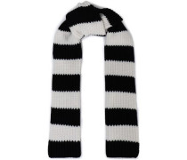 Striped wool and cashmere-blend knit scarf