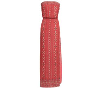 Lamé-trimmed Printed Silk-blend Jacquard Maxi Dress Brick