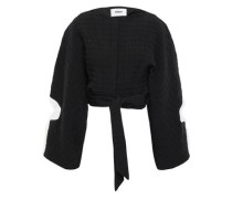 Cropped Cutout Quilted Cotton-blend Jacket Black