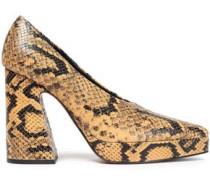 Snake-effect Leather Platform Pumps Animal Print