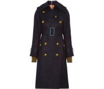Double-breasted brushed-wool coat