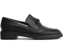Stingray-effect Leather Loafers Black