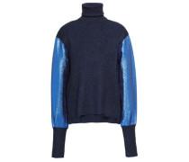 Lamé-paneled Ribbed-knit Turtleneck Top Navy