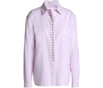 Button-embellished wool shirt