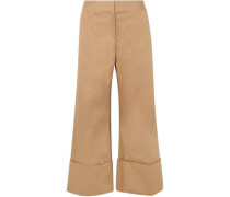 Woman Cropped Cotton-blend Gabardine Wide-leg Pants Sand
