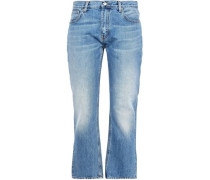 Faded High-rise Bootcut Jeans Light Denim  4