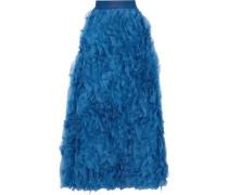 Ruffled Silk-organza Maxi Skirt Cobalt Blue