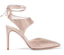 Crystal-embellished Satin Pumps Rose Gold