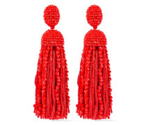 Bead And Cord Tassel Clip Earrings Red Size --