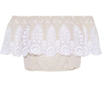 Dakota Off-the-shoulder Broderie Anglaise Cotton-voile Top Beige