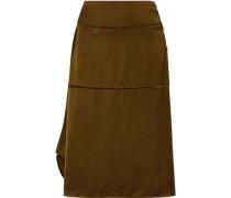 Asymmetric Satin Midi Skirt Army Green