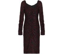 Ruched polka-dot stretch-silk dress