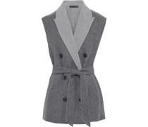 Woman Pearson Double-breasted Wool-blend Felt Vest Gray