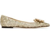 Embellished point-toe ballet flats