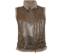 Shearling-trimmed Metallic Faux Leather Vest Bronze