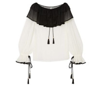 Crepe De Chine-paneled Corded Lace Blouse Off-white