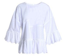 Paneled Broderie Anglaise And Cotton-poplin Top White
