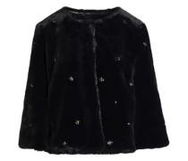Nayland Crystal-embellished Faux Fur Jacket Black