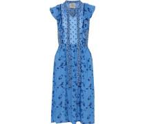 Aishah ruffle-trimmed printed seersucker dress