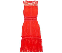 Ruffle-trimmed Lace Mini Dress Red Size 0