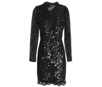 Open-back Sequined Leopard-print Tulle Mini Dress Black