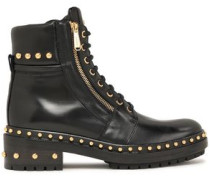 Army Studded Glossed-leather Ankle Boots Black